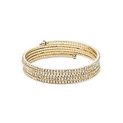 Anne Klein - Gold tone multi row crystal stone bracelet