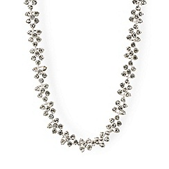 Anne Klein - Silver tone crystal stone collar necklace