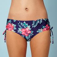 Dark purple striped border floral bikini bottoms