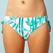 Green bamboo printed bikini bottoms with ruching detail