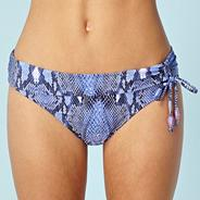Designer purple snake printed folded bikini bottoms with ruching detail