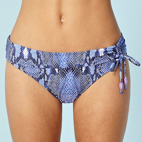Butterfly by Matthew Williamson - Designer purple snake printed folded bikini bottoms with ruching detail