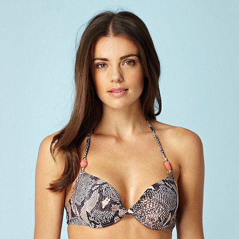 Butterfly by Matthew Williamson - Designer brown snake patterned uplifting bikini top