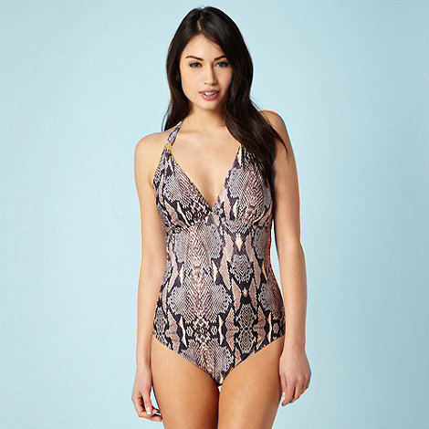 Butterfly by Matthew Williamson - Brown snakeskin print swimsuit