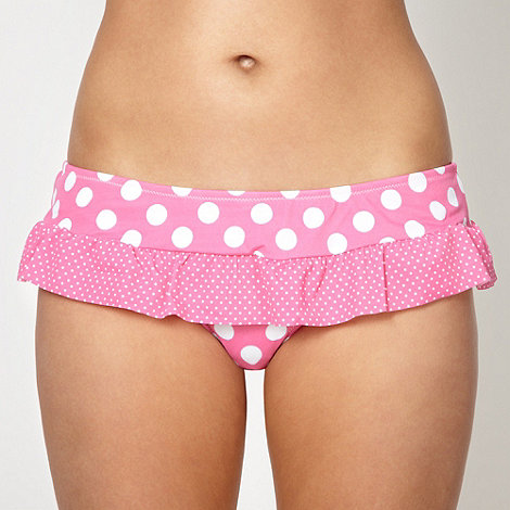 Ultimate Beach - Pink spotted frill bikini bottoms