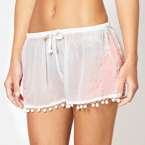 Butterfly by Matthew Williamson - Designer white embroidered pom pom shorts