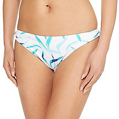 Beach Collection - White leaves tie side bikini bottoms