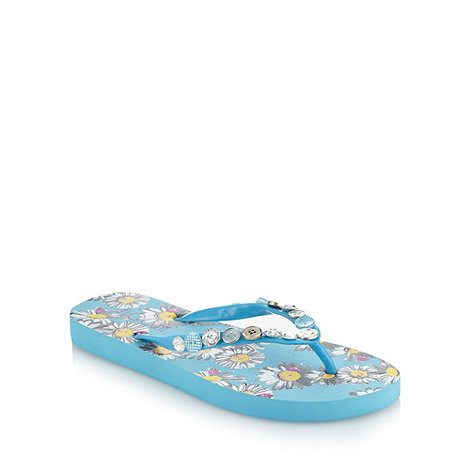 Floozie by Frost French - Blue daisy printed flip flops