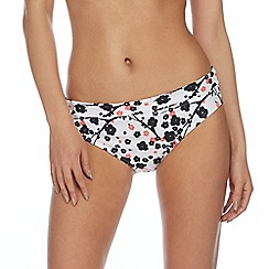 Beach Collection - White Japanese floral fold bikini bottoms