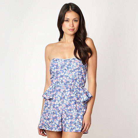 Floozie by Frost French - Blue floral peplum playsuit