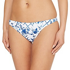 Reger by Janet Reger - White floral print bikini bottoms