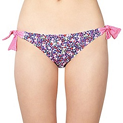 Ultimate Beach - Navy floral bunny tie side bikini bottoms