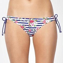Ultimate Beach - Navy striped floral loop bikini bottoms
