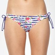 Navy striped floral loop bikini bottoms