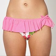 Pink dotted ruffle bikini bottoms