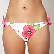 Pink dotted tie side bikini bottoms