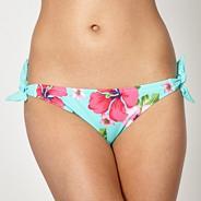 Aqua dotted tie side bikini bottoms