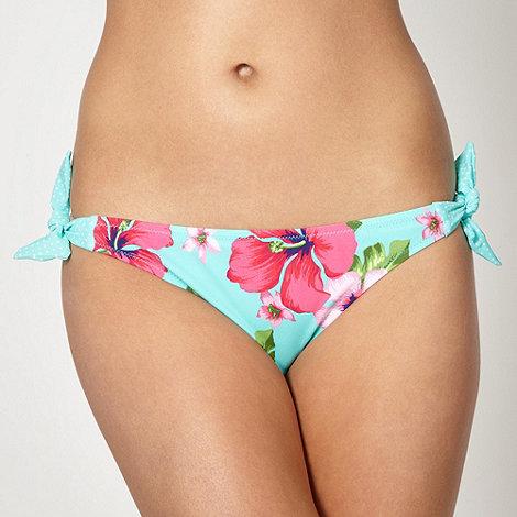 Ultimate Beach - Aqua dotted tie side bikini bottoms