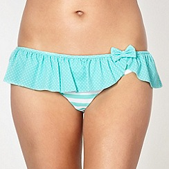 Ultimate Beach - Green striped frilly bikini bottoms