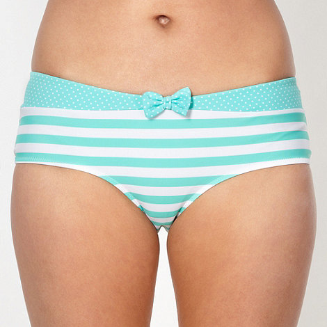Ultimate Beach - Green striped bikini shorts