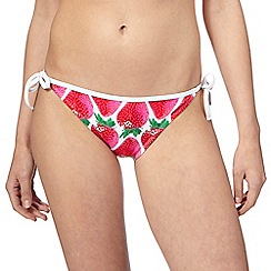 Red Herring - Red strawberry print bikini bottoms