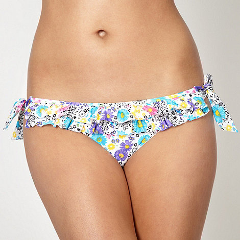 Floozie by Frost French - White daisy patterned bunny tie bikini bottoms