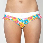 Orange floral frilly trimmed bikini bottoms