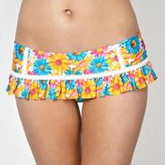 Orange floral skirted bikini bottoms