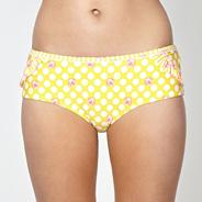 Yellow spotted daisy short bikini bottoms