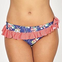 Gorgeous DD+ - Navy floral frill bikini bottoms