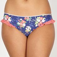 Navy floral frill bikini bottoms
