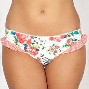 White rose patterned bikini bottoms