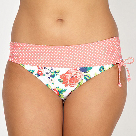 Gorgeous DD+ - White rose patterned ruched bikini bottoms