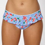 Blue strawberry frilled bikini bottoms