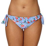 Blue strawberry frilled bunny tie side bikini bottoms