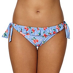 Gorgeous DD+ - Blue strawberry frilled bunny tie side bikini bottoms