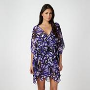 Purple ruched leaf kaftan