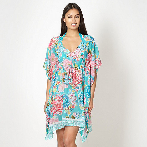 Beach Collection - Turquoise floral kaftan