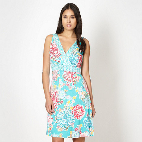 Beach Collection - Turquoise floral beach dress