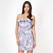 Blue  sketched floral bandeau beach dress