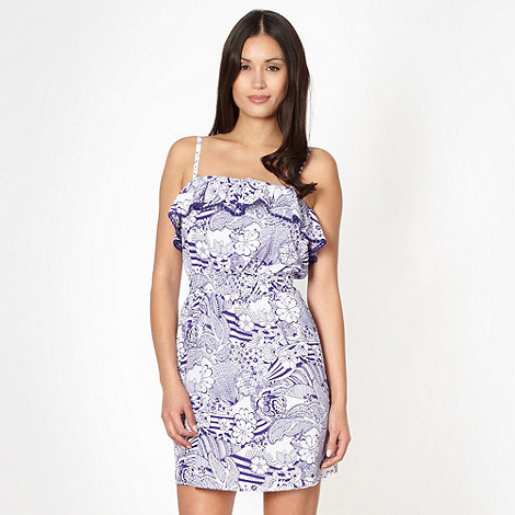 Beach Collection - Blue  sketched floral bandeau beach dress