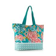Turquoise oriental flower canvas shopper bag