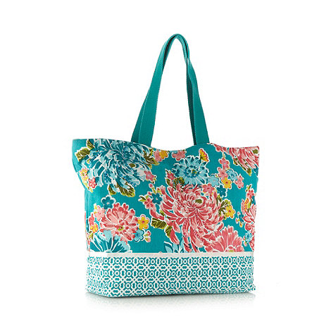 Beach Collection - Turquoise oriental flower canvas shopper bag