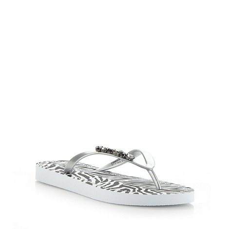 Beach Collection - Silver zebra print flip flops