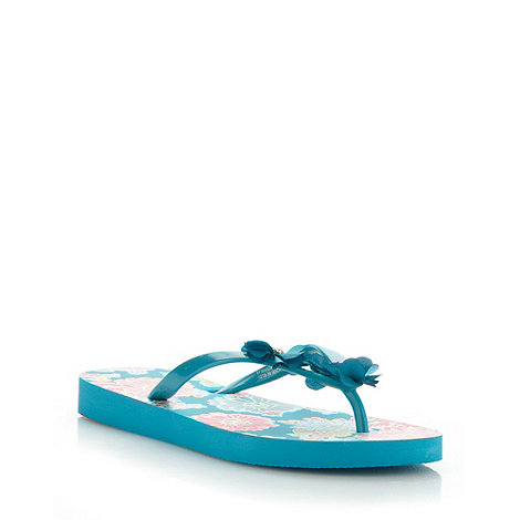 Beach Collection - Turquoise floral flip flops