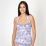 Blue uplifting sketched floral tankini top