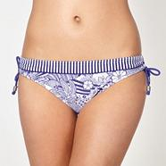 Blue sketched floral ruched side bikini bottoms