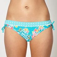 Turquoise floral ruched side bikini bottoms