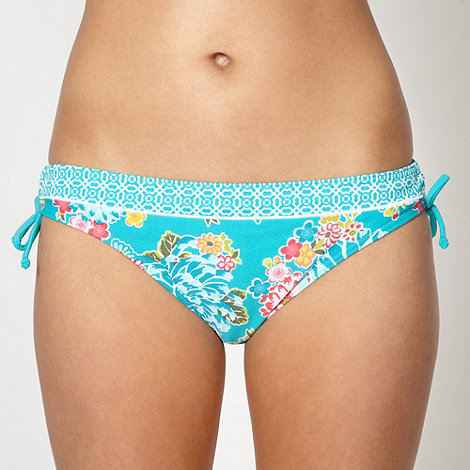 Beach Collection - Turquoise floral ruched side bikini bottoms