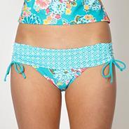 Turquoise floral fold down bikini bottoms